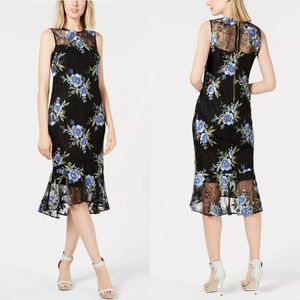CALVIN KLEIN Floral Embroidered Lace Sheath Dress